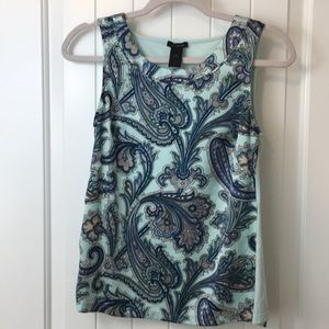 Ann Taylor blue and Mint Sleeveless Paisley Top XS